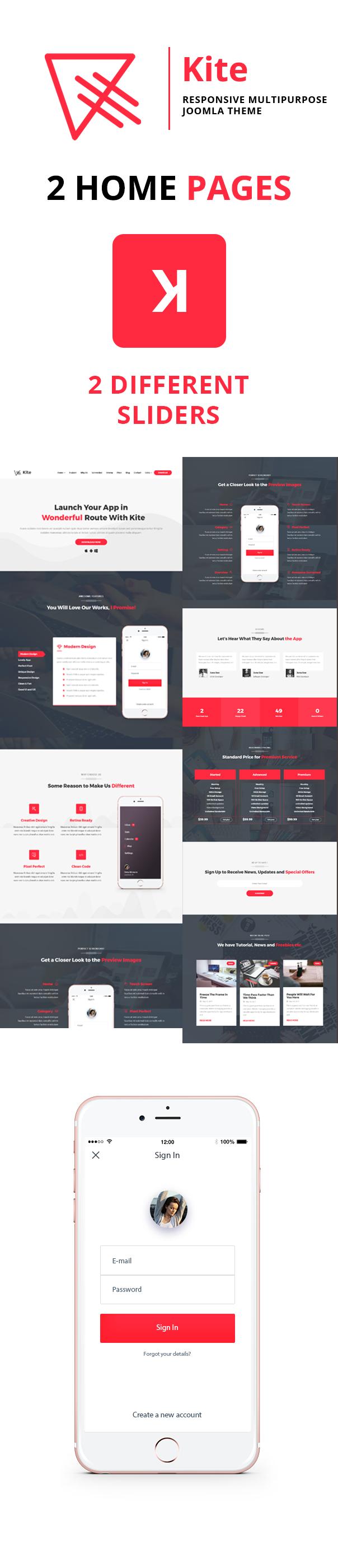 kite description - Kite - Responsive One Page Multipurpose Joomla Theme With Page Builder